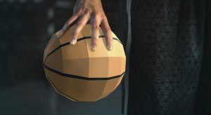 hand holding a virtual basketball