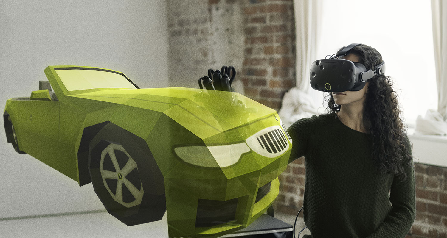 haptx gloves touching a virtual car