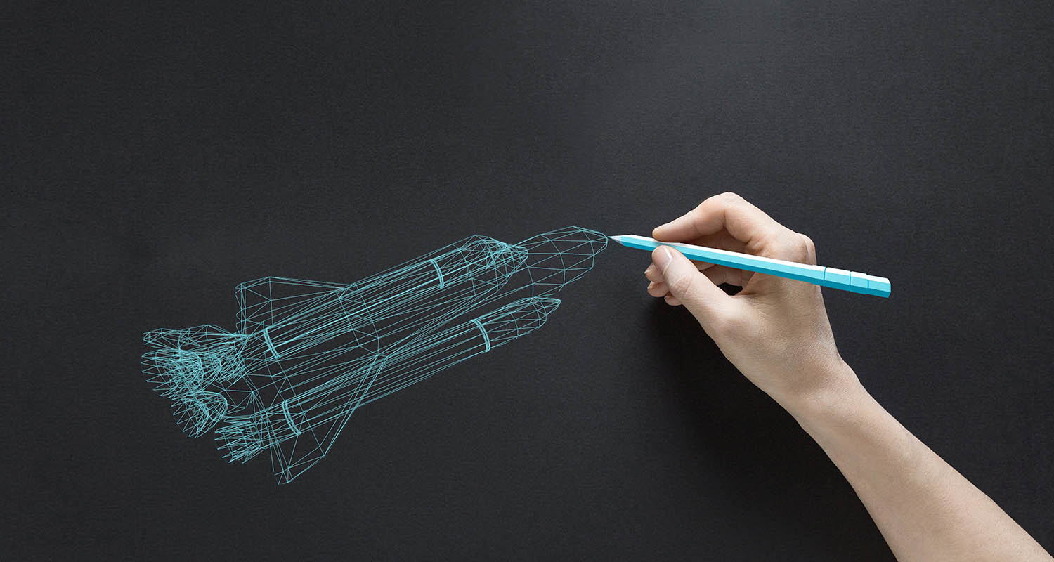 hand drawing a virtual rocket ship
