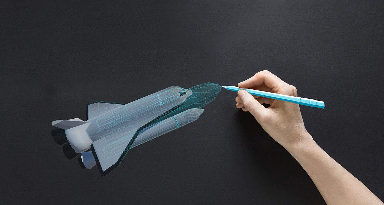 hand drawing a virtual rocketship