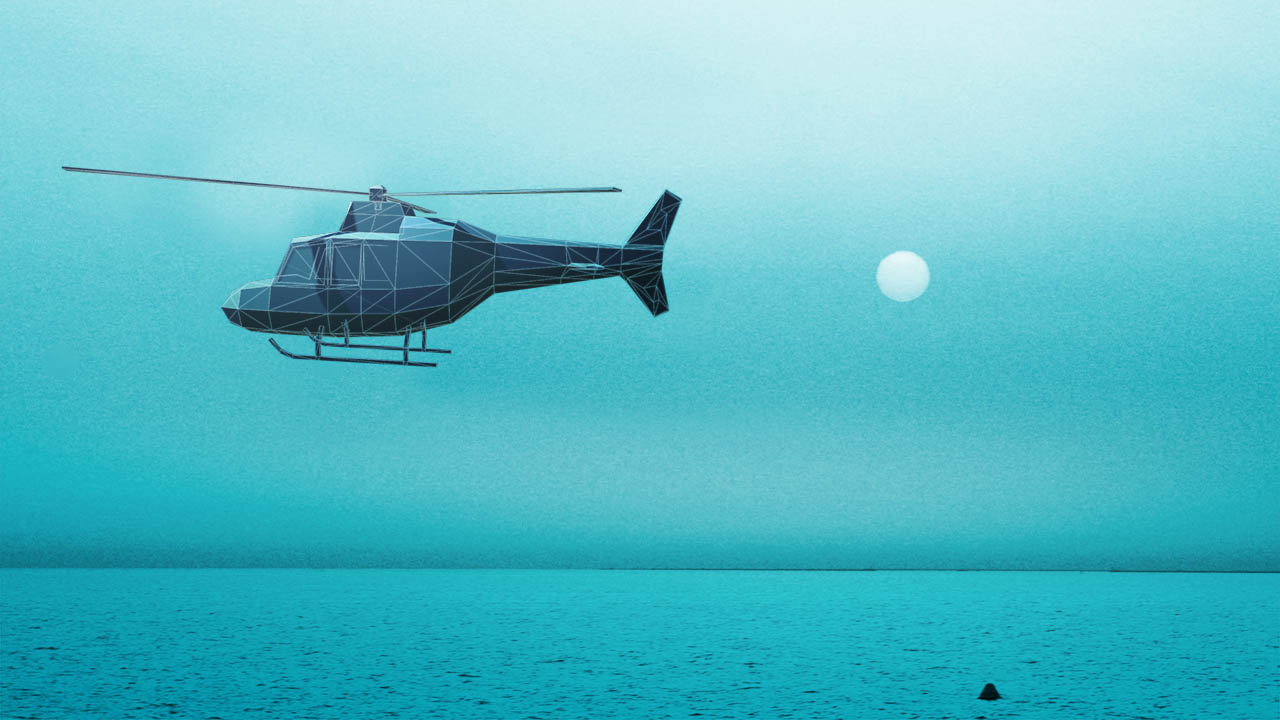 a digital helicopter flying over the ocean