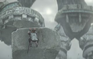 protagonist from shadow of the colossus clinging to a giant