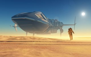 an astronaut on a desert planet with a space ship