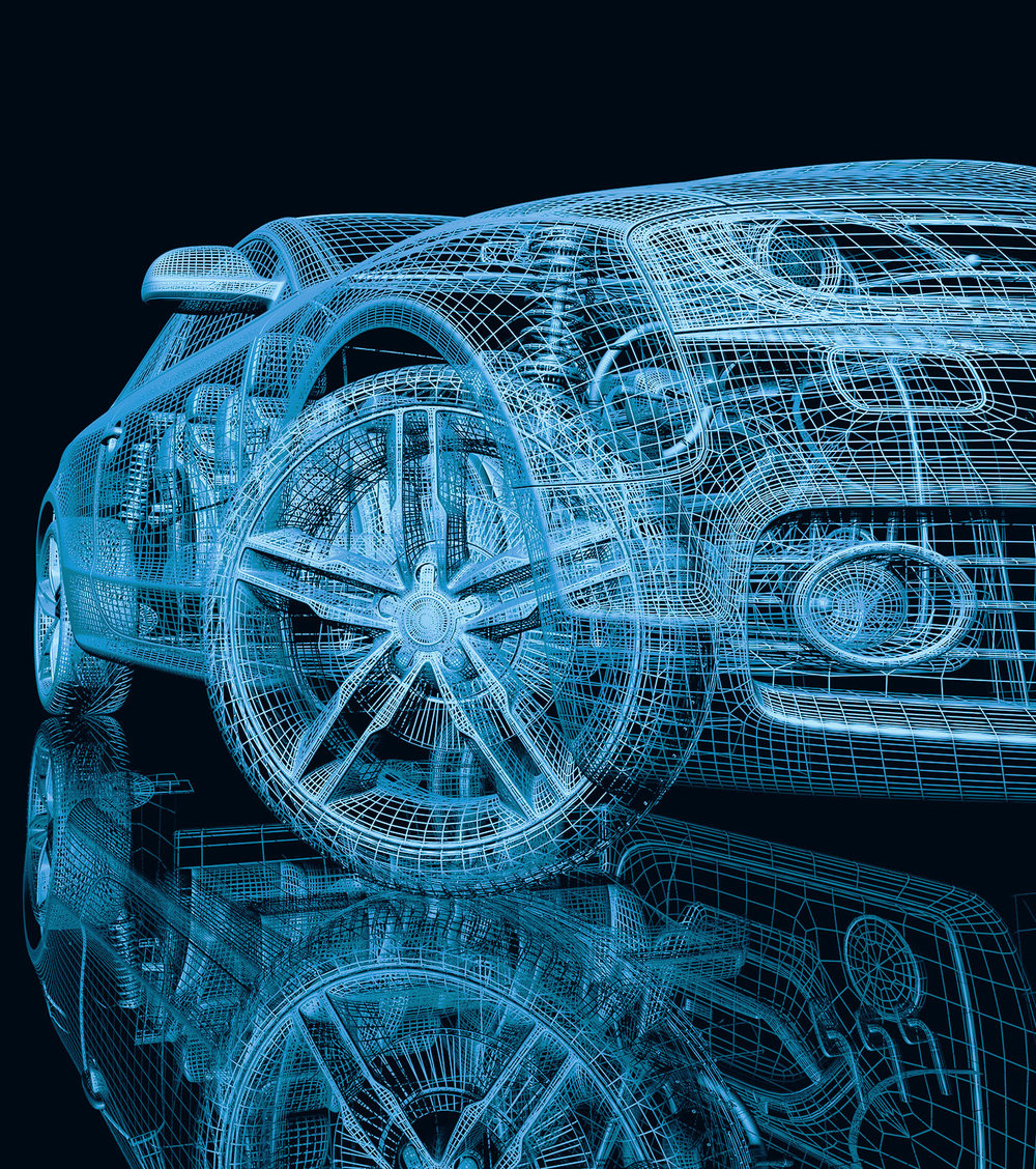 wireframe of a car