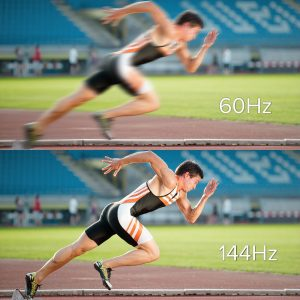 two frames of a runner, one showing motion blur